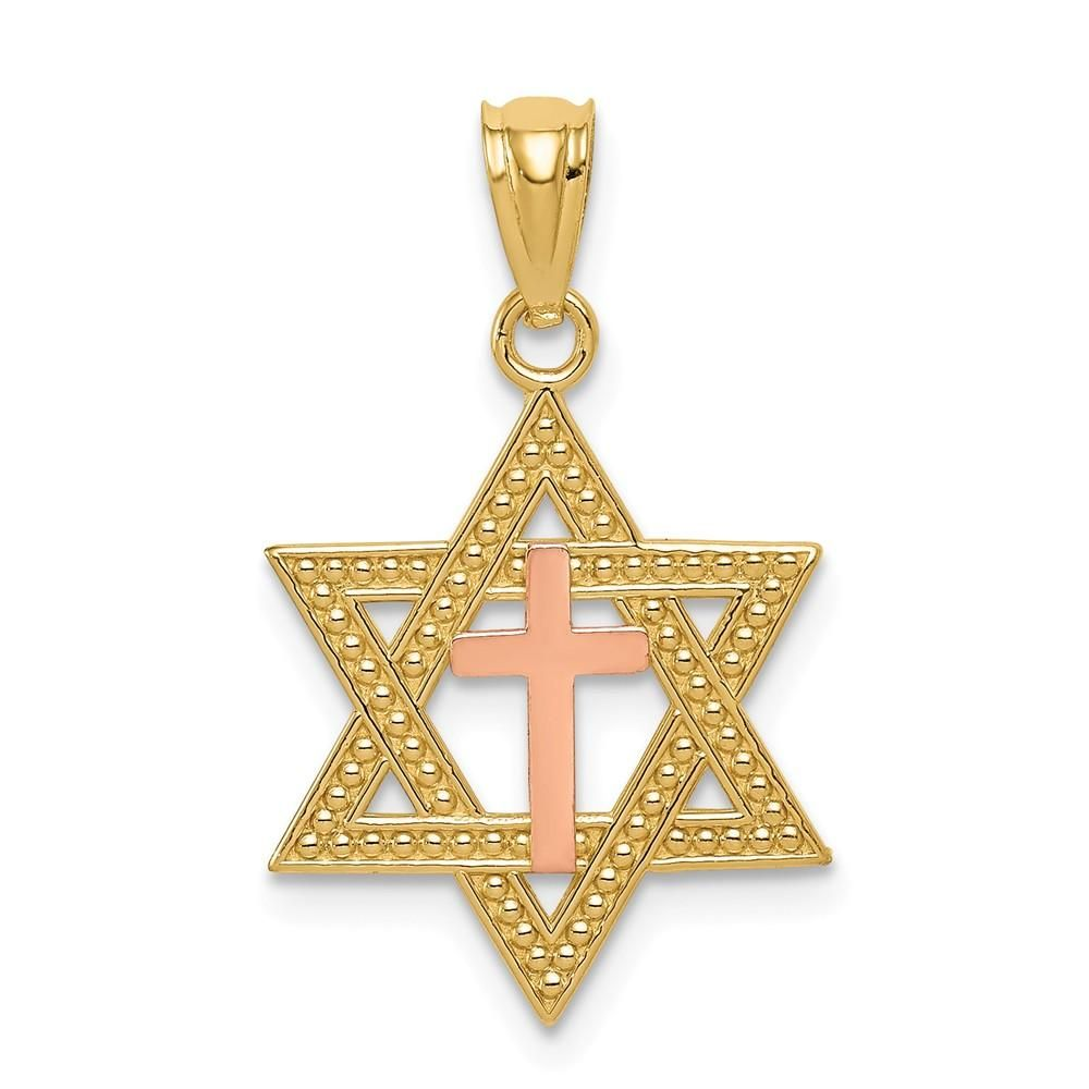 K Twotone Yellow u Rose Gold Polished Jews for Jesus Pendant