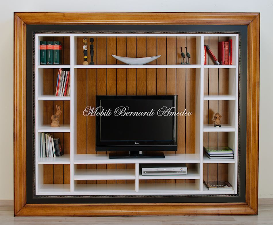 Libreria Porta Tv Legno.Wall Unit With Shaped Frame Solid Wood Libreria Porta Tv Con