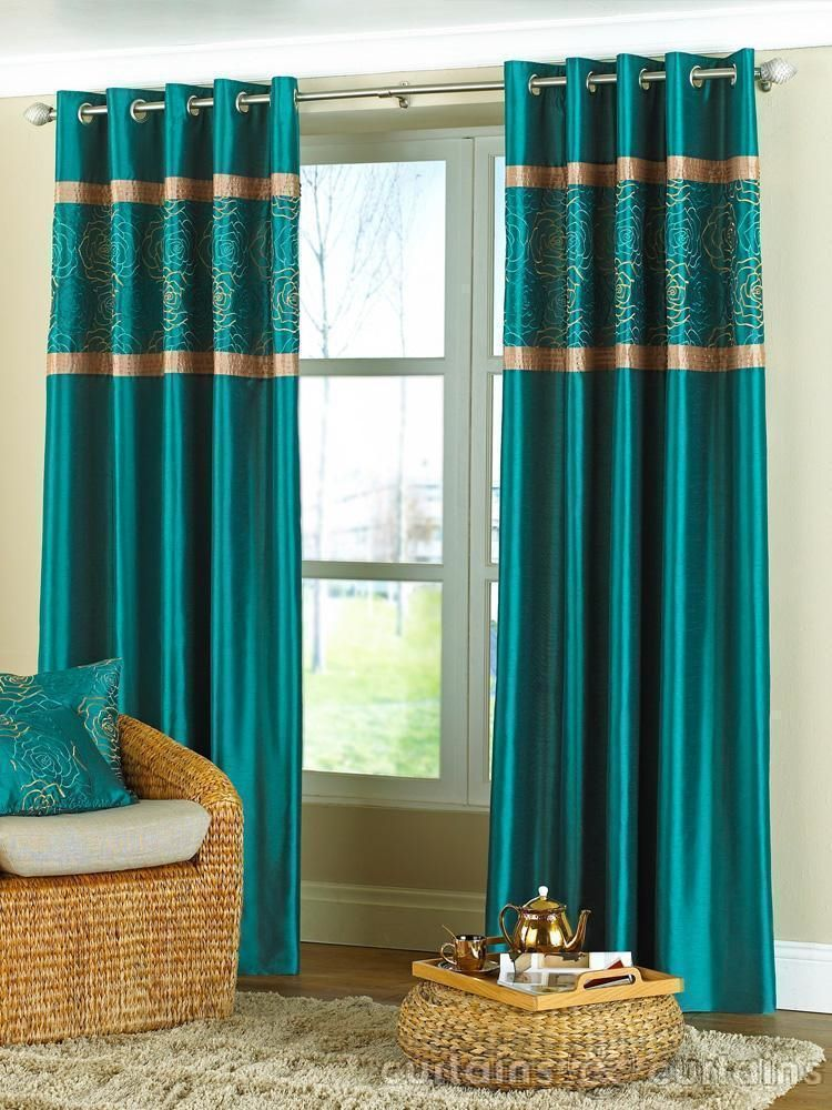 Charming Teal Living Room Curtains High Resolution