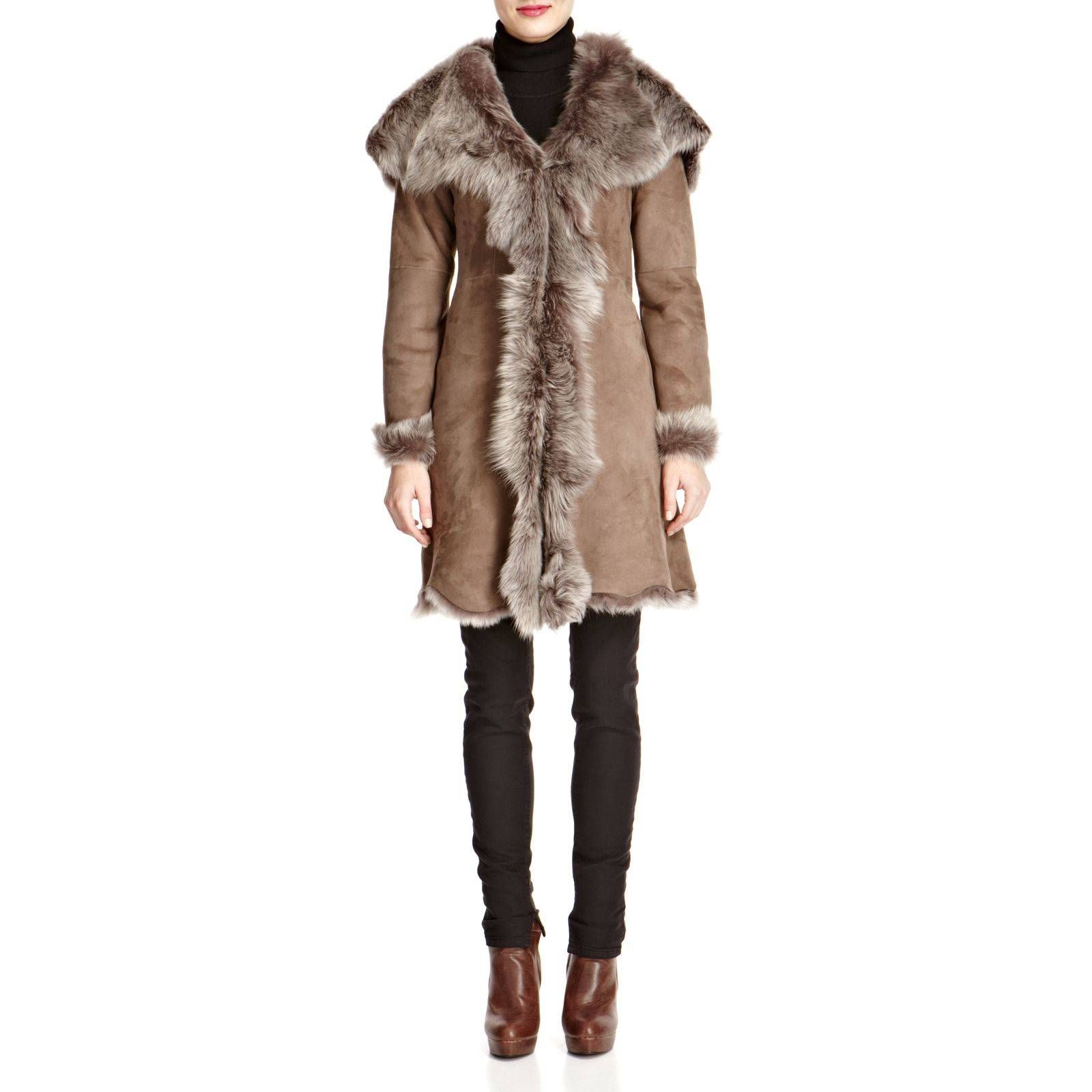 Shearling Boutique Taupe Waterfall Hooded Shearling Coat ...