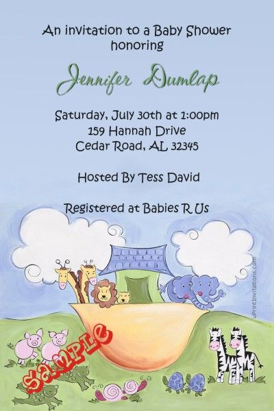Noah\u0027s Ark Baby Shower Invitations - Get these invitations RIGHT NOW - create invitations online free no download