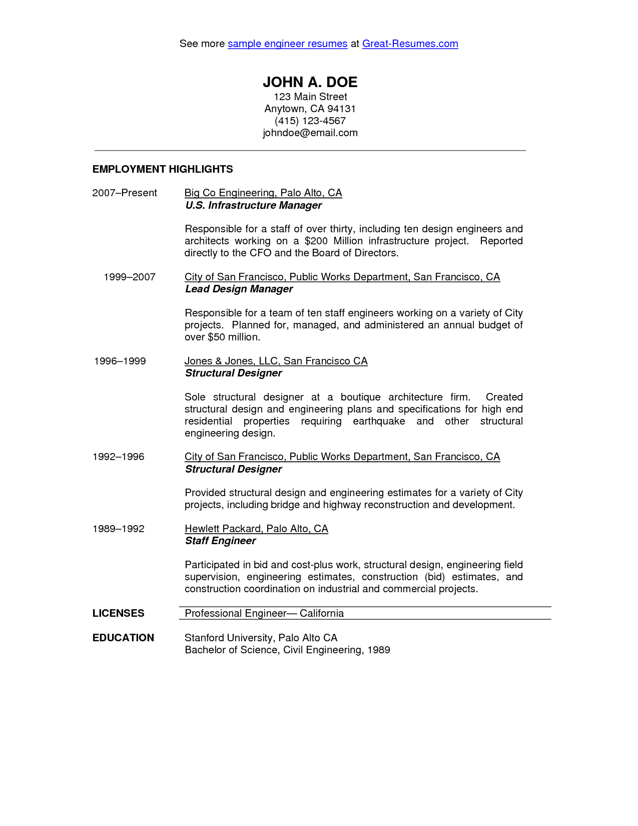 Resume Employment History Civil Engineer Resume Sample  Httpwwwresumecareercivil