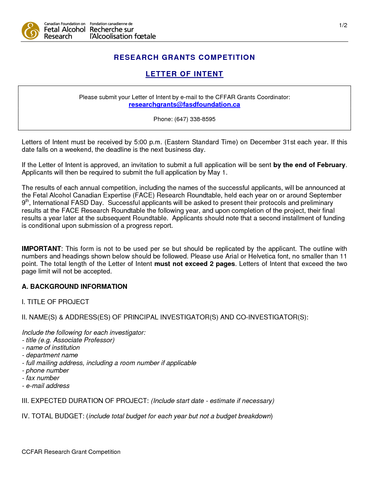 Letter Of Intent Grant Application Sample - How to Write A Winning