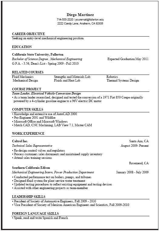 Entry Level Mechanical Engineering Resume Fascinating Computer Science  Resume Templates  Pinterest  Job Resume Samples .
