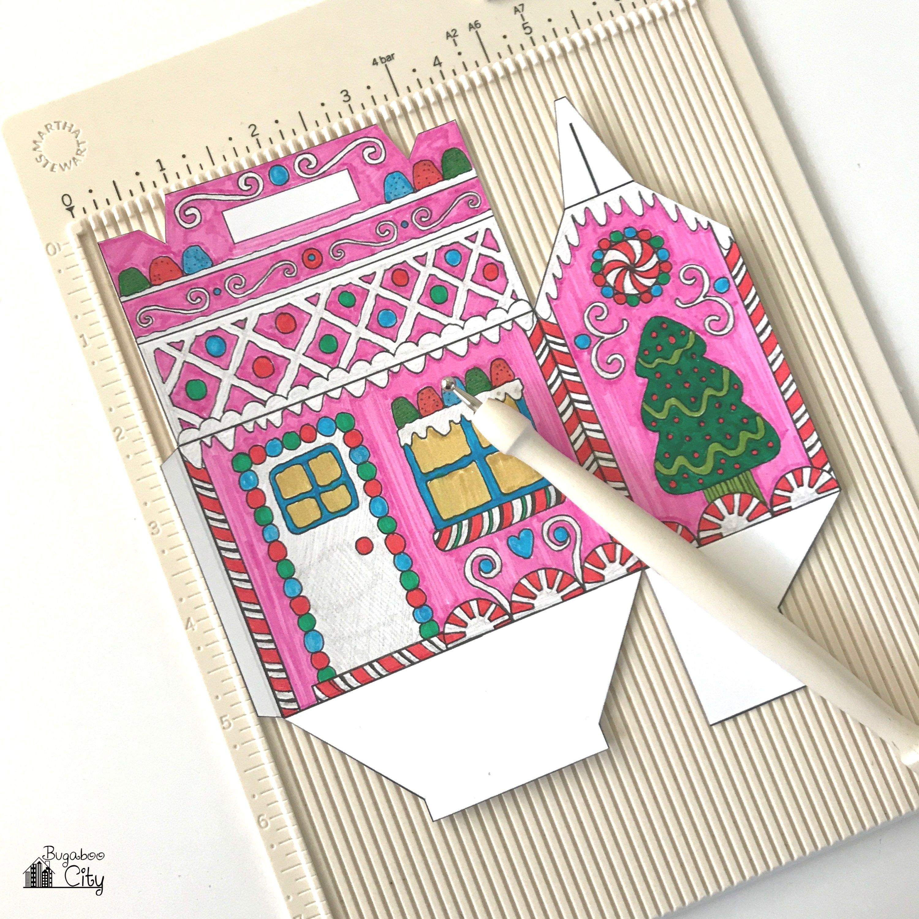 Color Your Own Gingerbread House Treat Boxes