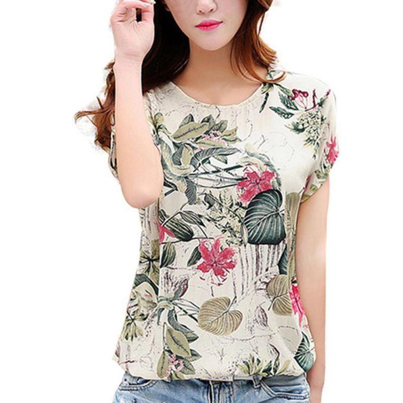 dc4f37065442fb Casual Loose Blouse Shirt Fashion Korean 2018 New Blusas Floral Print Women's  Chiffon Blouses Ladies Shirts Summer Tops 2XL
