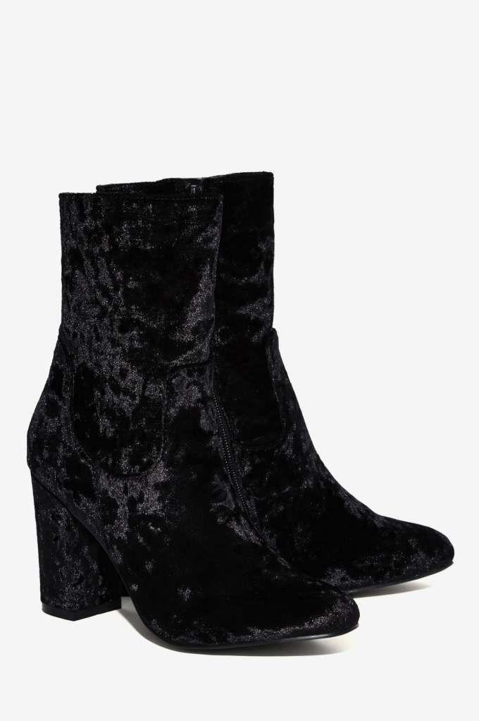 d84935d46e5db Nasty Gal Tibby Velvet Boot - Black - Shoes