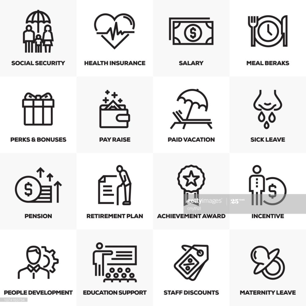 Employee Benefits Line Icons Set Line Icon Icon Set Employee Benefit