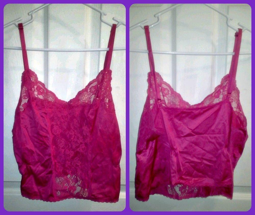 Sexy Womens Juniors Lingerie Pink Lace Front Cami Top Slip Blouse #Bestform