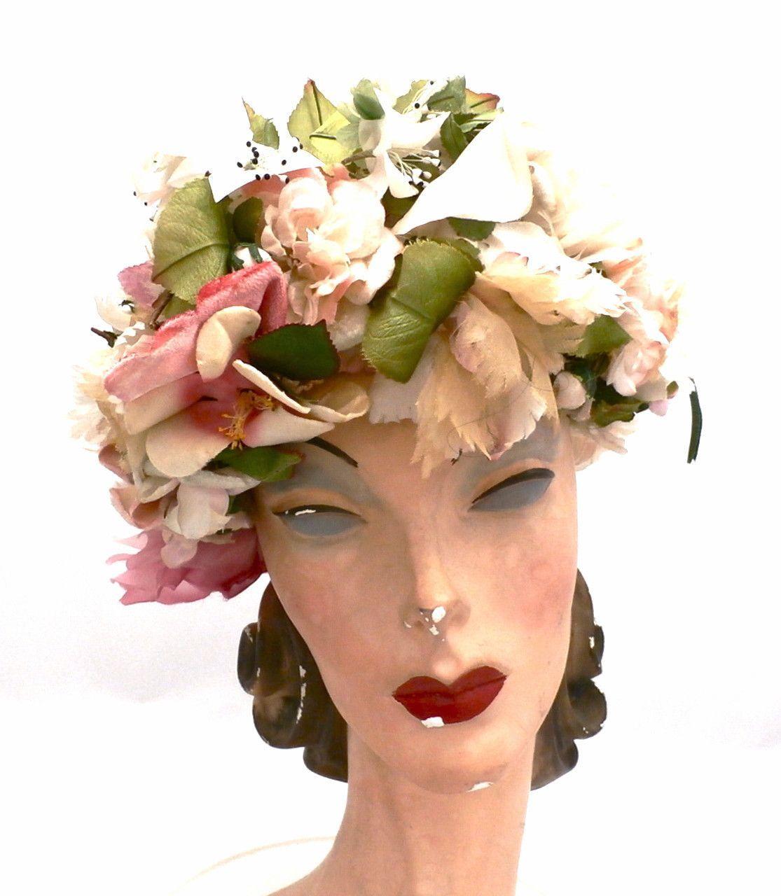 Vintage Christian Dior Hat Silk Floral Explosion 1950s Large Vintage Clothes Women Hats Vintage Vintage Outfits