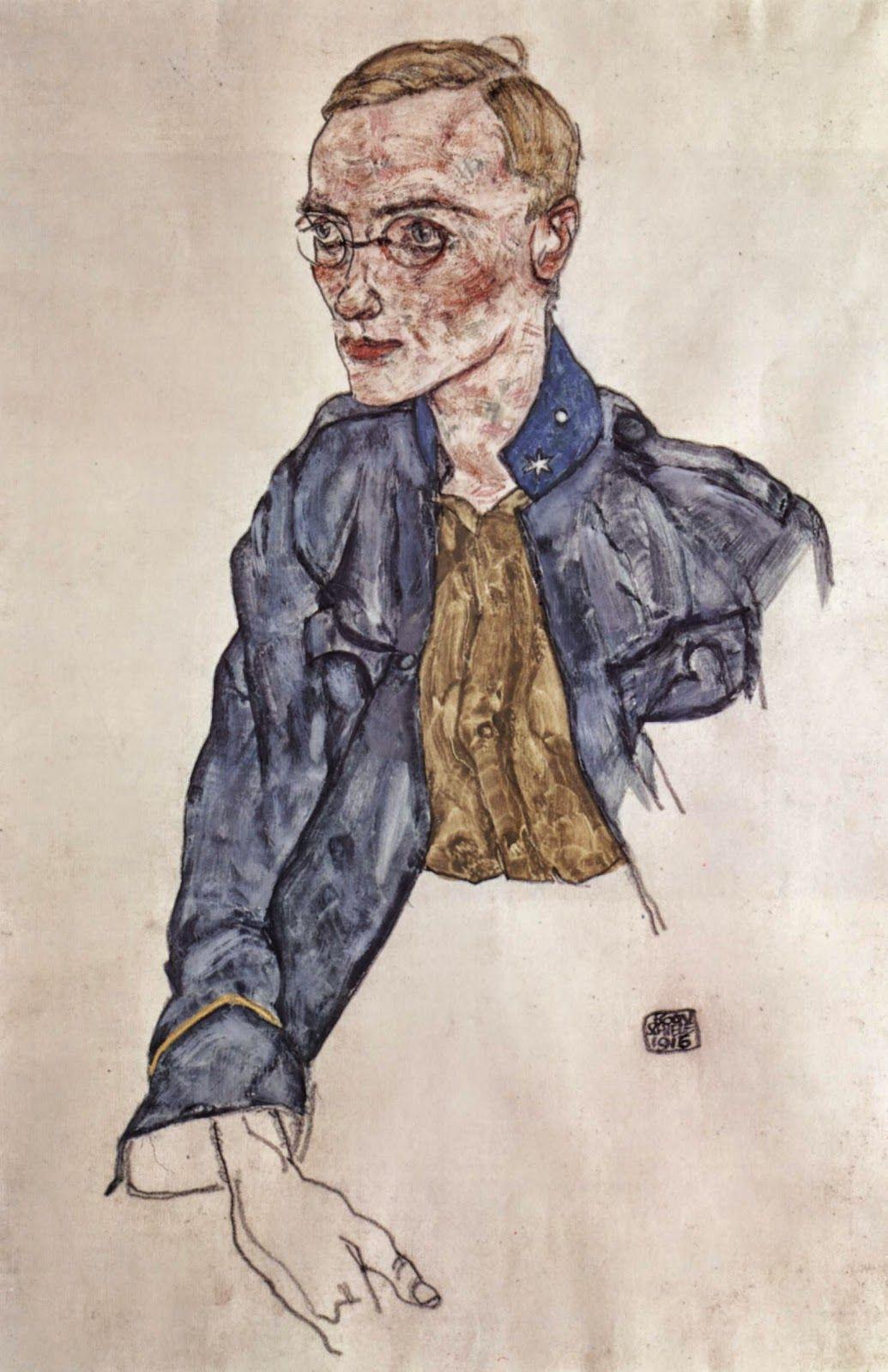 Egon Schiele ~ Schizzo per un Autoritratto.. | Le lettere di Schiele