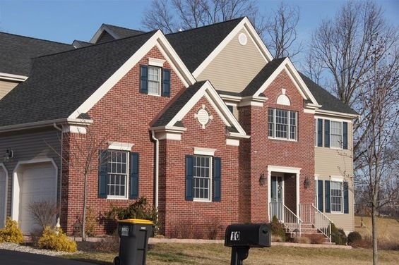 Navy Shutters On Brick With Tan Siding Brick Exterior House Brick House Exterior Colors Red Brick House Exterior