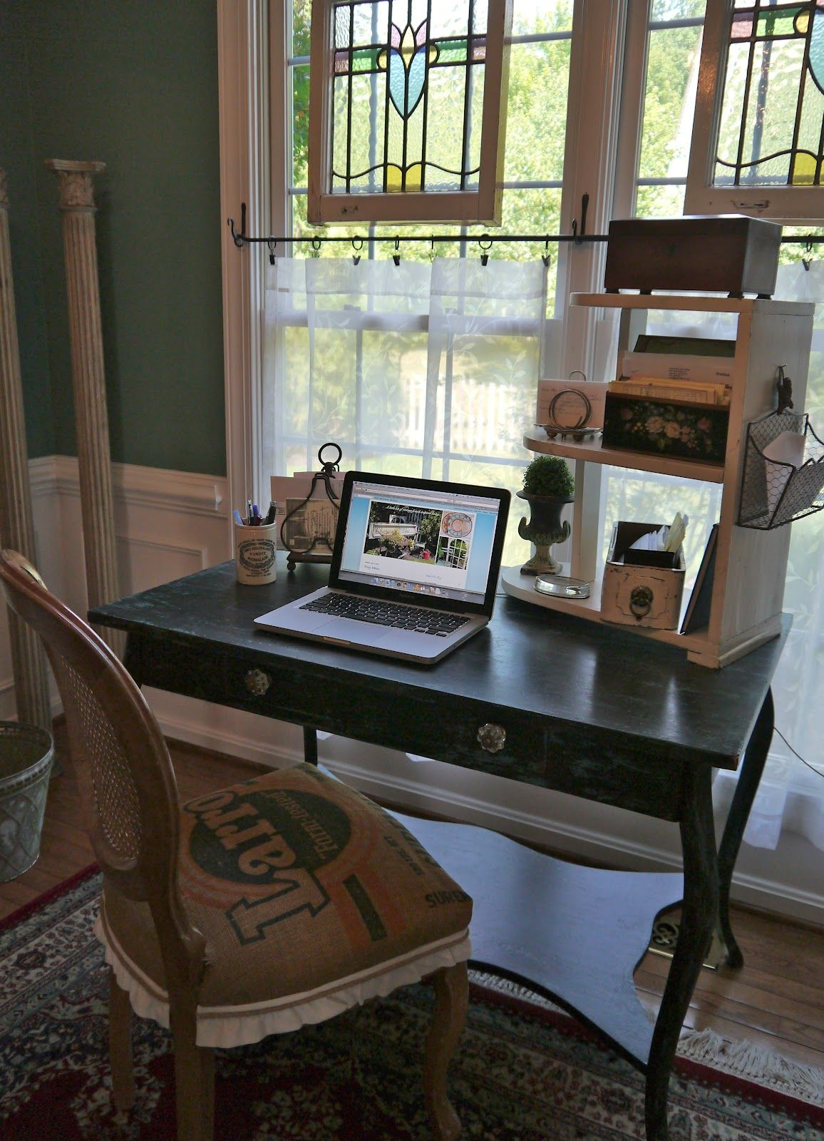 Desk under window ideas  chateau chiclove the window treatment with hanging stained glass
