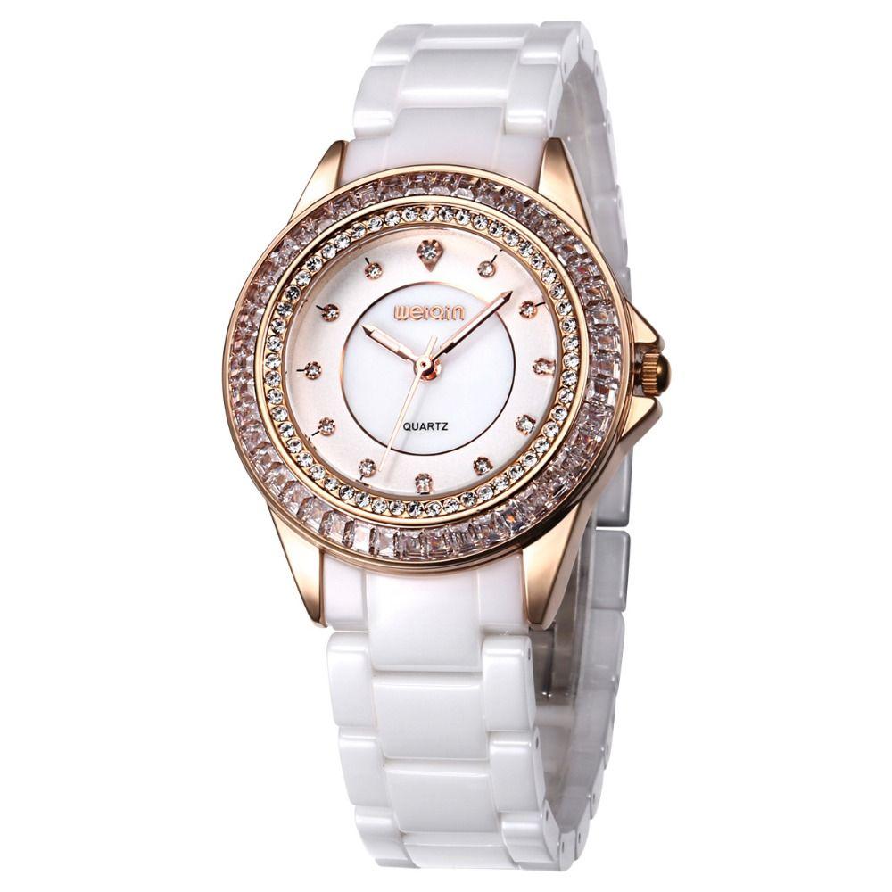 Top luxury brand weiqin dress white ceramic gold quartz watch women