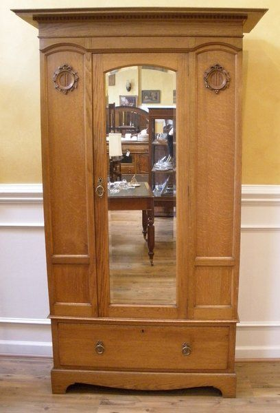 Antique Wardrobe Armoire English Oak Victorian Mirrored