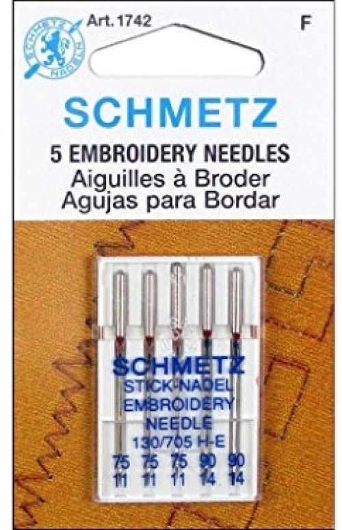 Original Version 25 Schmetz Assorted Embroidery Sewing Machine Needles 130//705H H-E Size 75//11 and 90//14