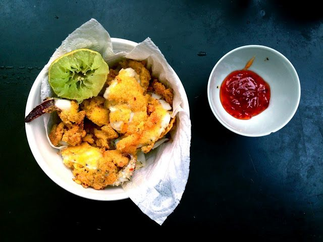 Crispy polenta-fried cuttlefish with chilli and lime