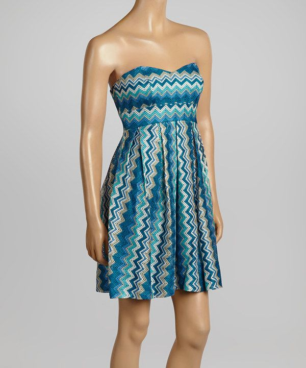 Teal & Tan Zigzag Strapless Dress by Rubber Ducky Productions #zulily #zulilyfinds