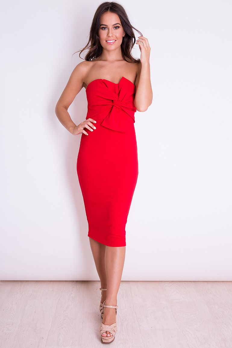 Kendall knot front strapless midi dress red girlinmind xmas wish