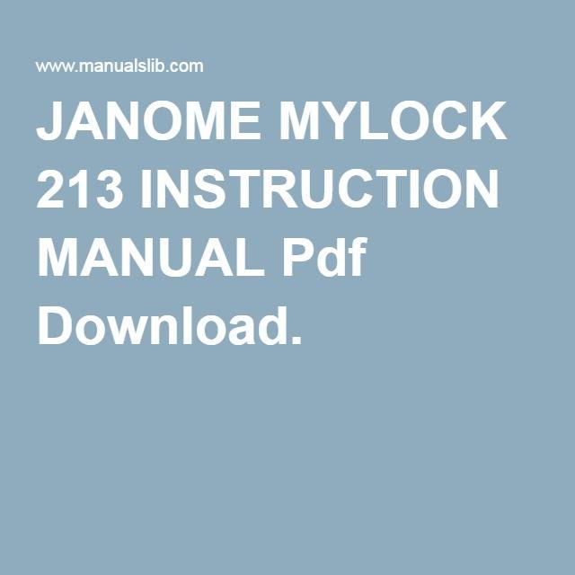 JANOME MYLOCK 213 INSTRUCTION MANUAL Pdf Download Swinging - instruction manual