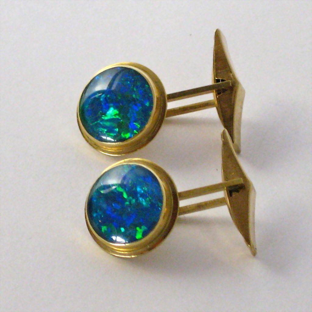 Vintage 9KT Gold Black Opal Mens Cufflinks Vintage Cufflinks