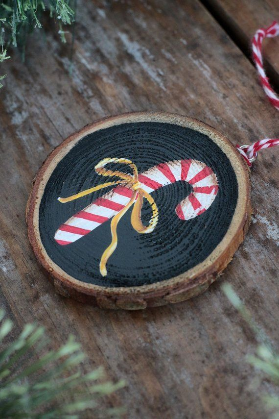 Wood Slice Ornament, Candy Cane Ornament, Personal
