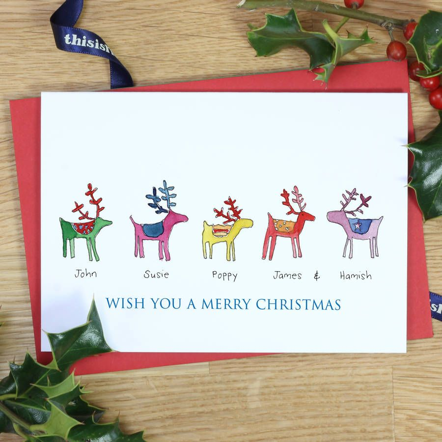 Personalised rainbow reindeer family christmas cards cards personalised rainbow reindeer family christmas cards cards m4hsunfo