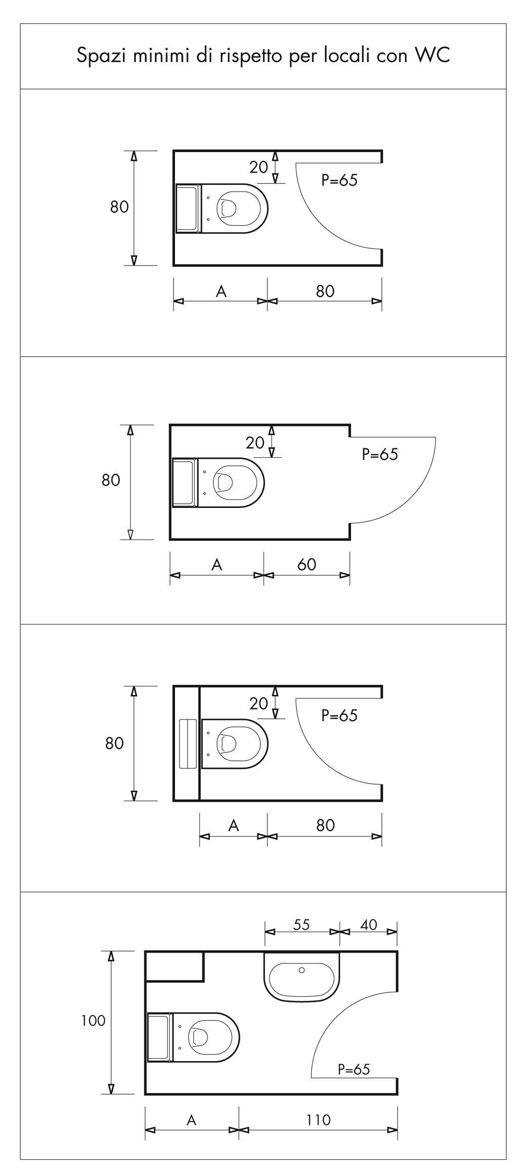 Distanze minime bagno sala da bagno planos de ba os cuarto de ba o e cuartos de ba os - Misure bagno minimo ...