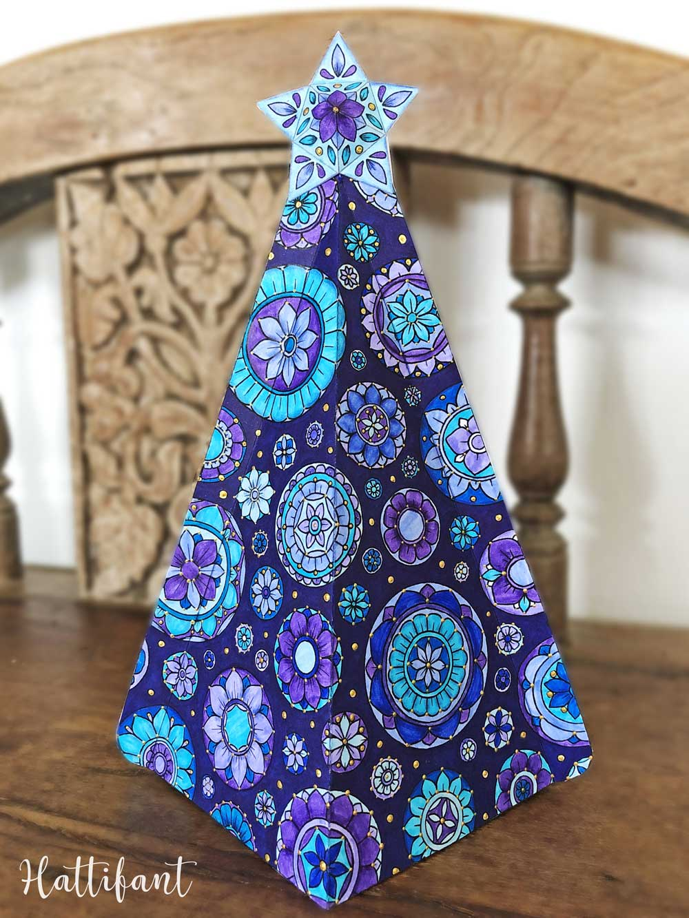 3d Mandala Christmas Tree Ensemble To Color Hattifant Christmas Tree Template Paper Christmas Decorations Paper Christmas Tree