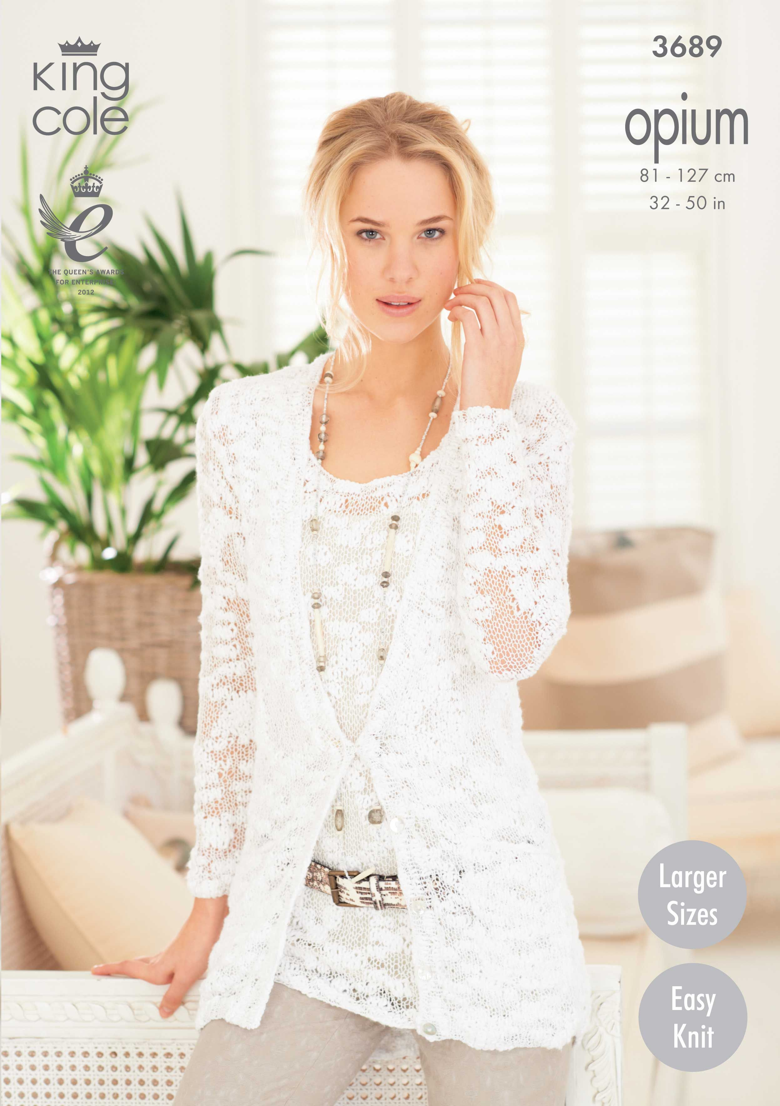 Knittes Ladies' Cardigan and Vest with a Lacy Look - King Cole ...