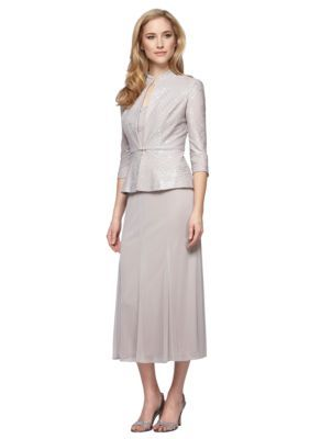 Alex Evenings  T-Length Mock Two-Piece Dress with Jacket