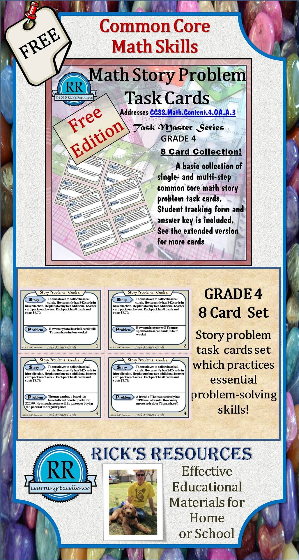 Math Word Problem Challenges Task Cards Free