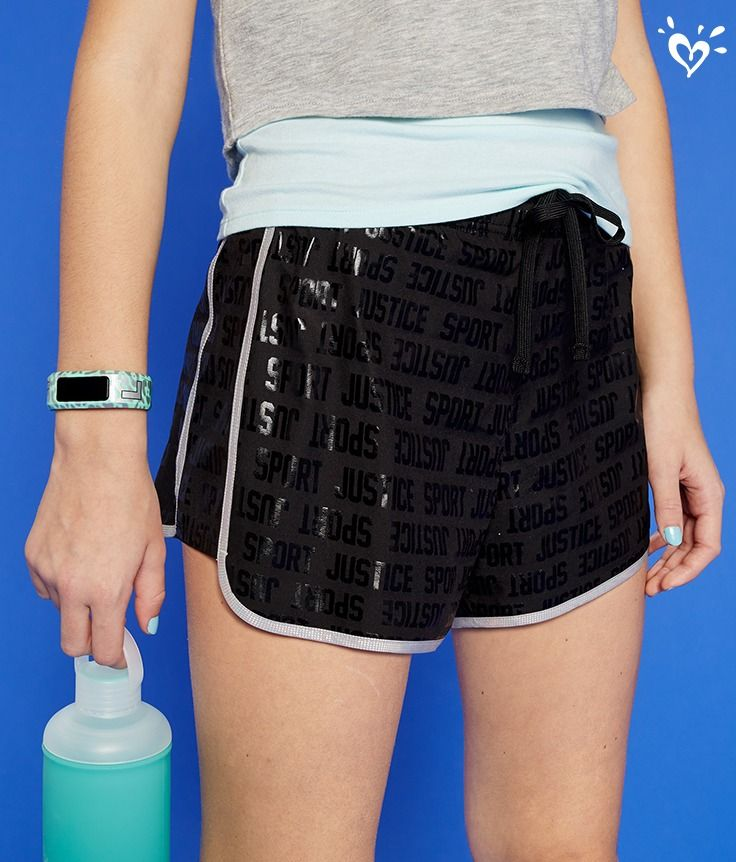 A shimmering finish! Can'tmiss iridescent graphic shorts