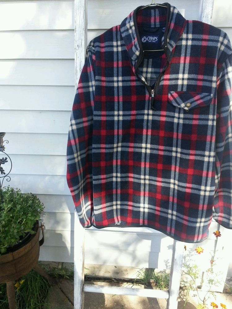Chaps Ralph Lauren Pullover Sweater Plaid  Polyester Fleece Comfy L (M) #Chaps #Pullover