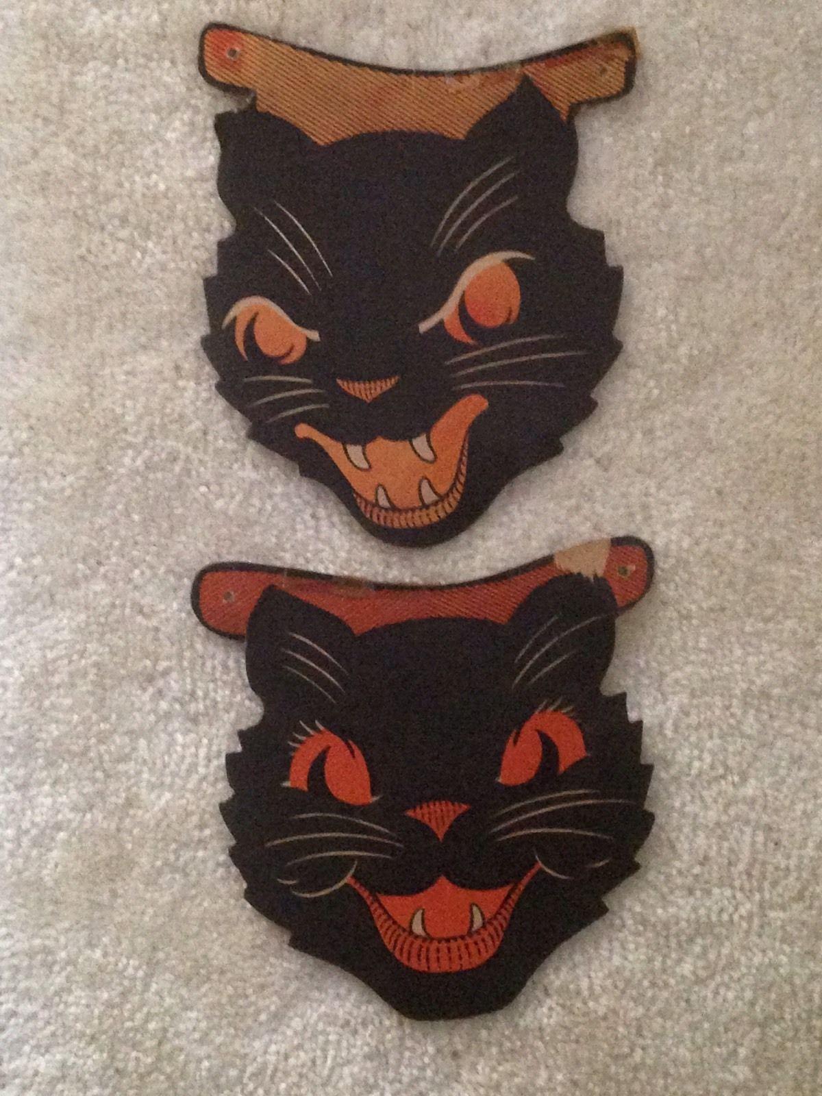 "Cardboard Masks To Decorate 2 Vintage Halloween Decorations 7"" Cats Cardboard Masks Old  Ebay"