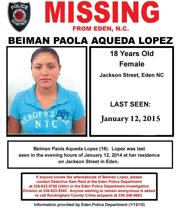 MISSING PERSON ALERT \u2013 BEIMAN PAOLA AQUEDA LOPEZ RockinghamUpdate - missing person poster generator