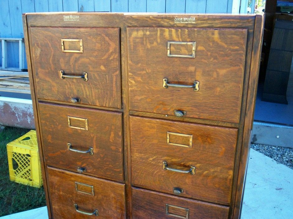 Furniture Antique Double Wide Design Oak File Cabinets Library
