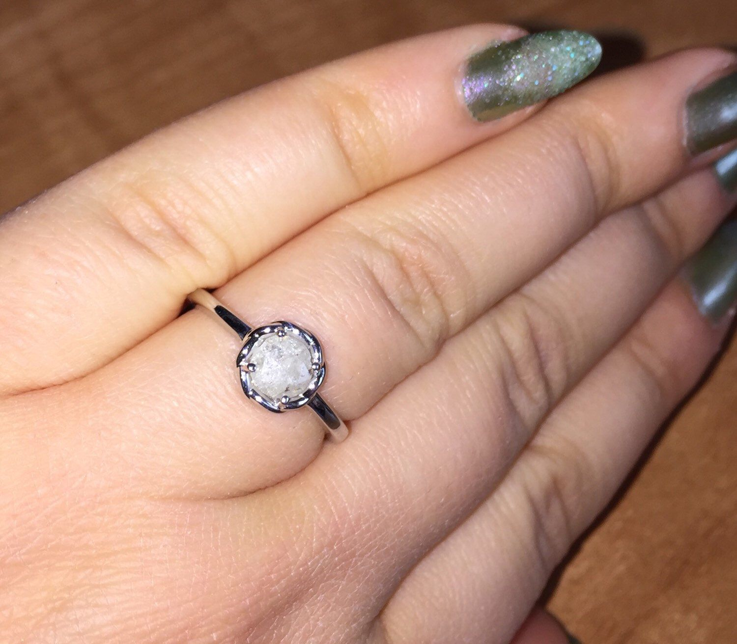 Raw diamond Engagement ring, Meaningful proposal ring,  Rose Cut diamond rings, Ring as Unique as YOU ARE, affordable proposal rings by BridalRings on Etsy https://www.etsy.com/listing/251144292/raw-diamond-engagement-ring-meaningful