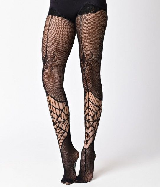 Ladies Crawling Spiders Opaque Spider Tights Halloween Hosiery Creepy Bugs Witch