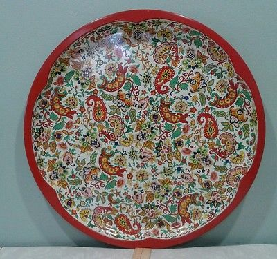 """Daher Decorated Ware Tray Made In England Vintage Daher Decorated Ware 16 14"""" Metal Paisley Serving Tray"""