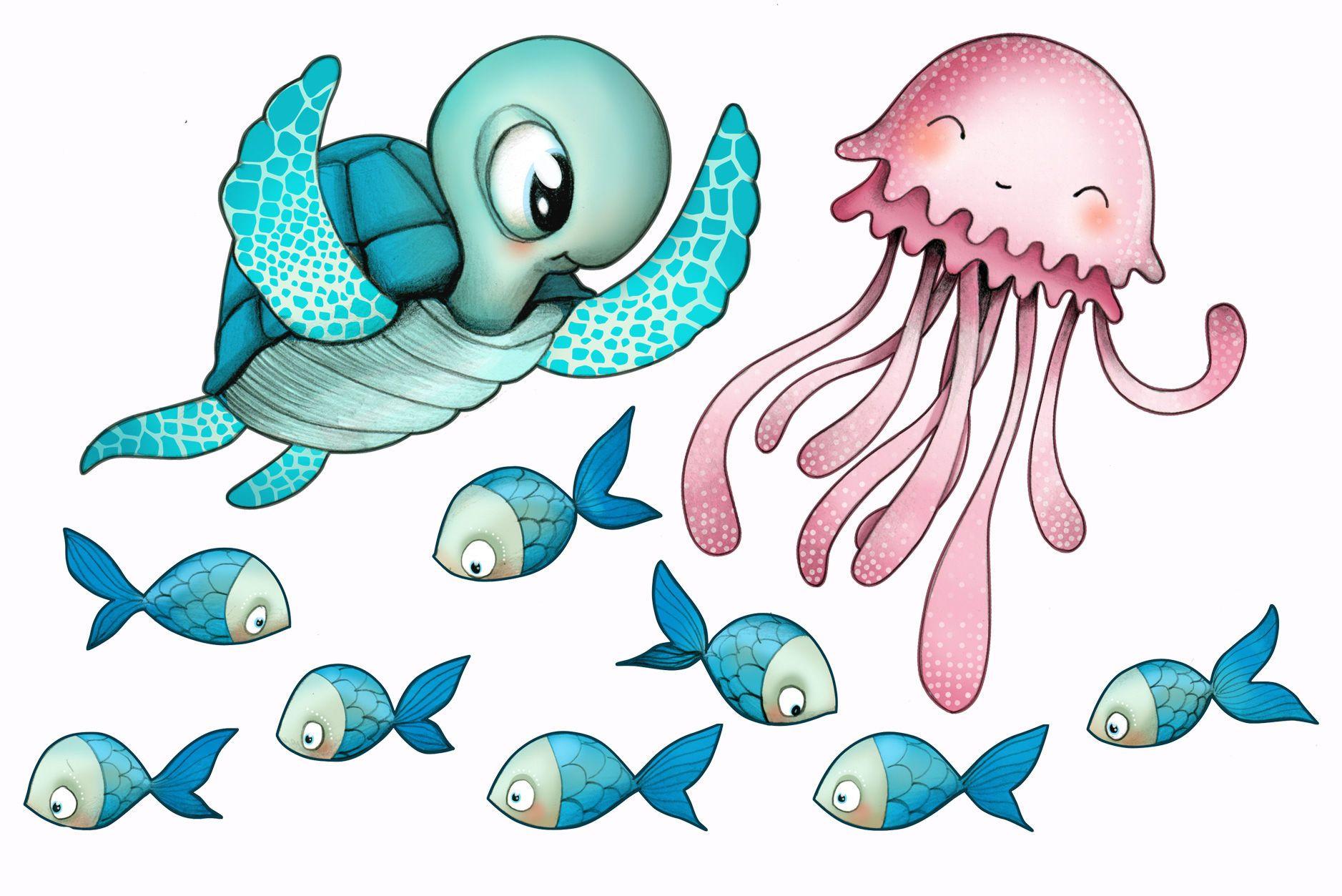 Sticker mural en vinyle pour enfant mixte tortue m duse et poissons by emmanuelle colin - Dessin enfant poisson ...