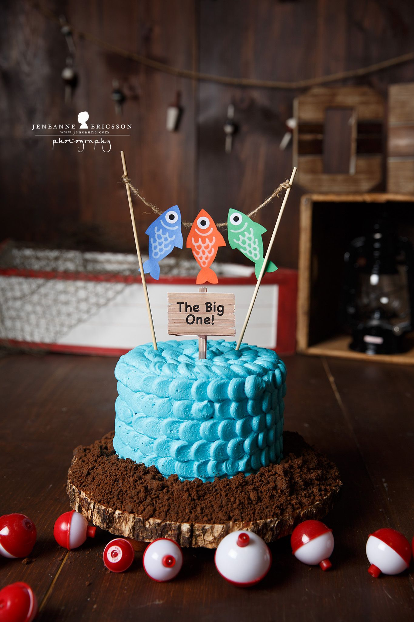 Fishing themed boy cake smash cake for First birthday fishing theme