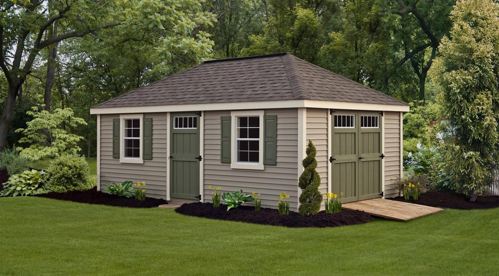 12x20 Garden Shed Villa Style By Northwood Industries In Mounds View Minnesota Green Shutters White Vinyl Siding Outdoor Sheds