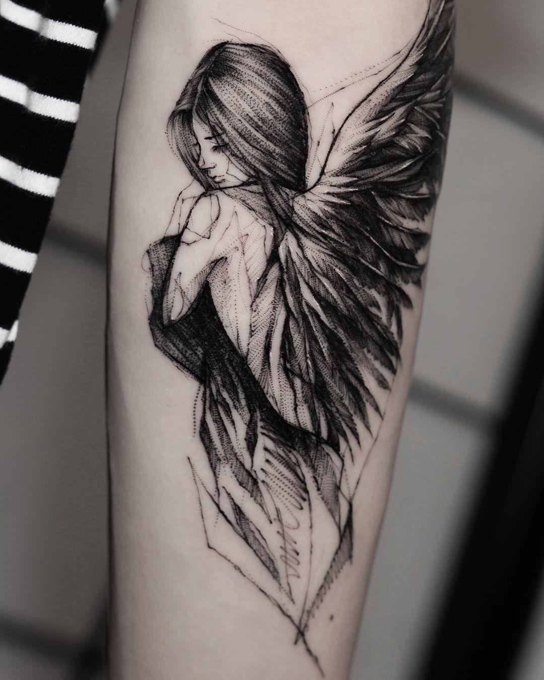 "BK_tattooer sur Instagram: ""Angel Done at @ bk.inkstudio @killersilverink"""