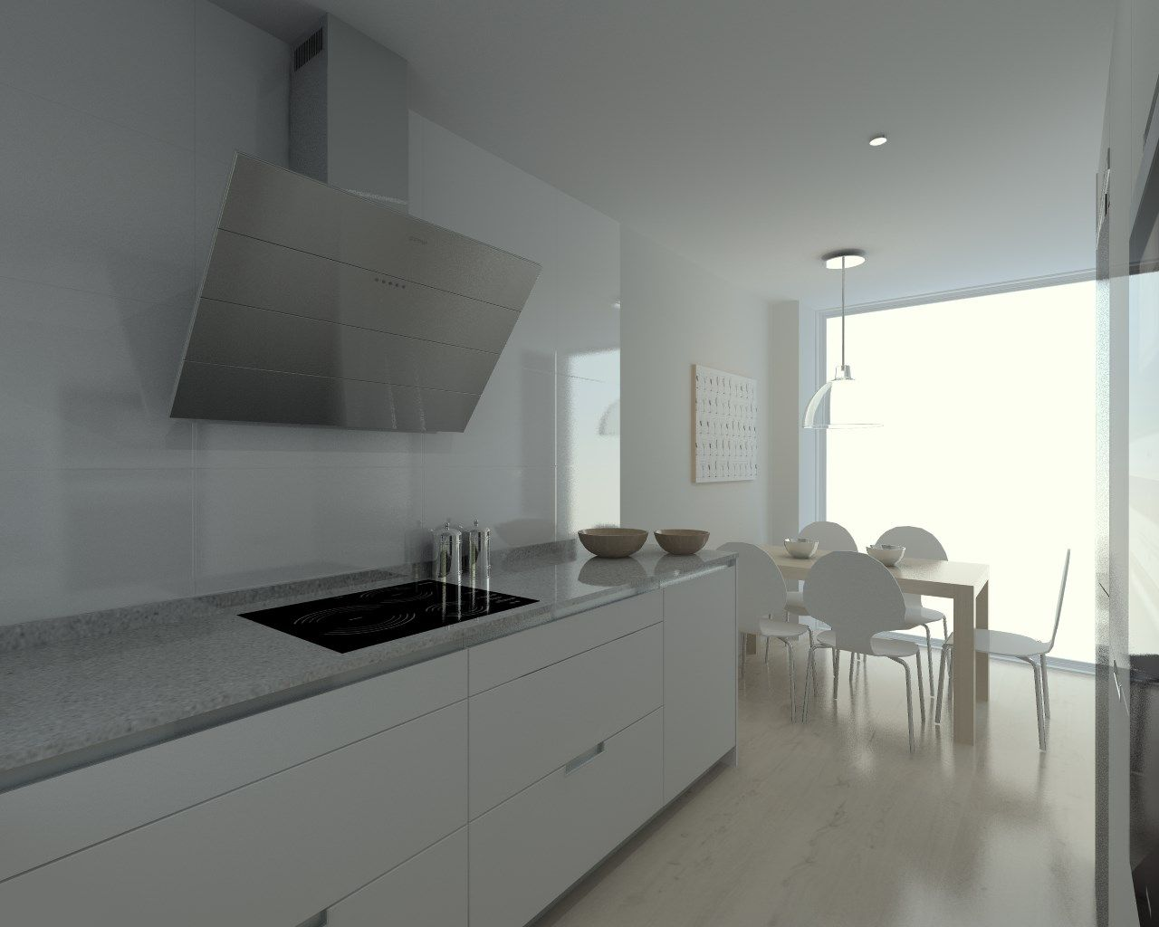 Cocina santos modelo minos laminado seda blanco encimera - Silestone aluminio nube ...