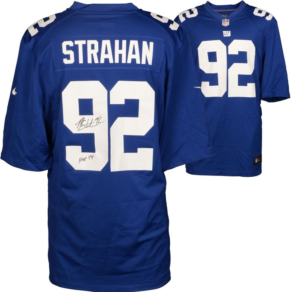 the best attitude 74653 0dc1e Michael Strahan NY Giants Signed Nike Limited Blue Jersey ...