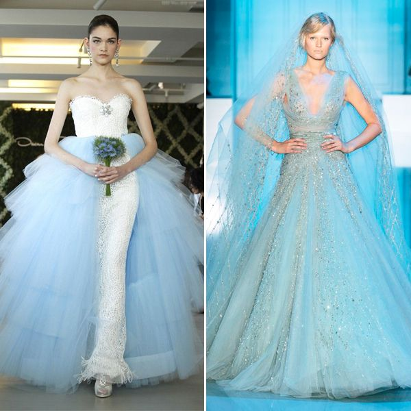 Blue wedding dresses images Oscar De La Renta Wedding Gown