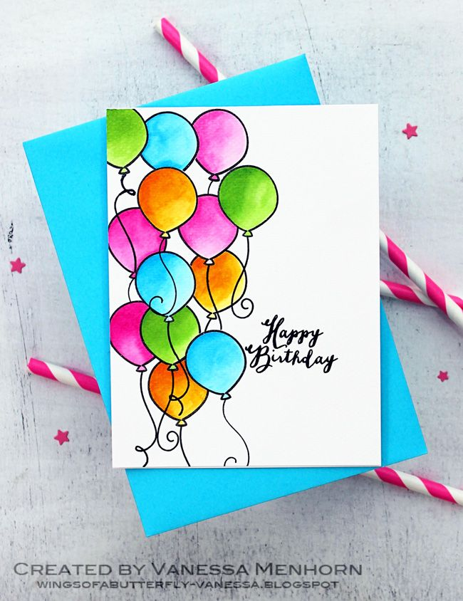 Watercolor Balloons Birthday Card Drawing Watercolor Birthday