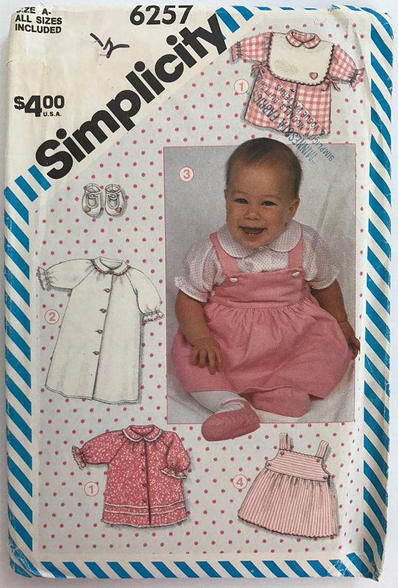 UNCUT Newborn Baby Clothes Sewing Pattern Simplicity 6257 Baby ...