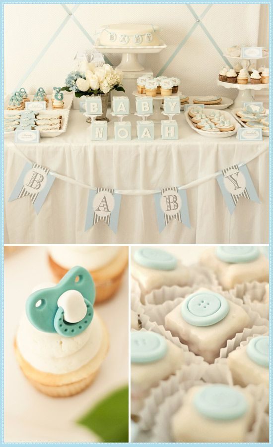 Cly And Elegant Baby Shower Birthday Party Buffet Candy Dessert Cookie Cake Blue Decorate